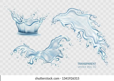 Fresh water pouring down isolated vector illustration set. Crown splashing on light transparent background. Realistic splashes, aqua drops, blue liquid waves. Soda, soft drink, cocktail, lotion promo.