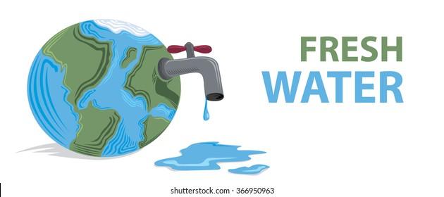 Fresh Water Running Out, Environmental Problems (Vector Art)