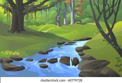 FRESH  WATER STREAM  IN FOREST