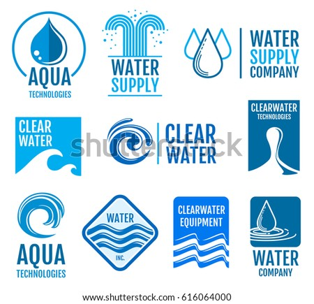 Fresh Water Vector Logos Labels Set Stock Vector Royalty Free