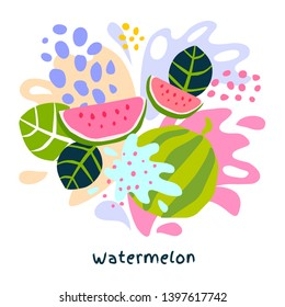 Fresh watermelon berry berries fruits juice splash organic food juicy melon splatter on abstract background vector hand drawn illustrations