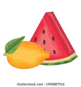 fresh watermelon and lemon fruits
