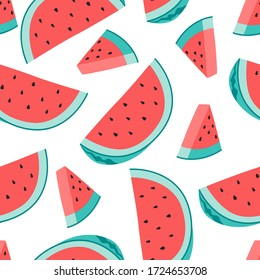 Fresh watermelon seamless pattern, hand drawn concept of whole and slice of fruit. Vector illustration, flat cartoon style on isolated background.