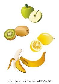 Fresh whole fruit and half. Health food. Vector.