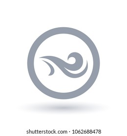 Fresh wind icon in circle outline. Air flow symbol. Wind breeze sign. Vector illustration.