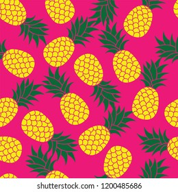 Fresh Yellow seamless Pineapple Fruits on Pink color Background Pattern. Vector.