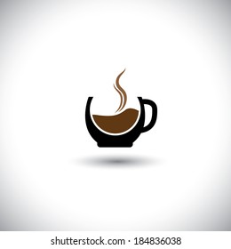 freshly brewed coffee in a porcelain mug - abstract vector graphic. This illustration also represents cappuccino, expresso,  decoction, java, mocha, cafe-noir, caffeine, cafe