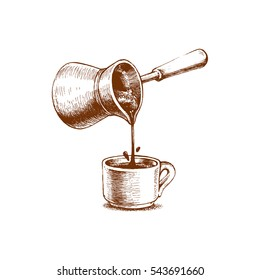 Freshly brewed coffee, a Turk for brewing, freehand drawing, vector image