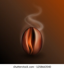 Freshly Roasted Coffee Bean with Rising Smoke. Realistic 3d Vector Illustration of Fragrant Coffe Grain on Dark Background