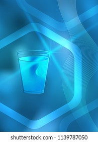 Freshness natural theme, a Fresh Water background of bright glowing blue blur with white circles & place for your text. Best graphic for front label spa products. Vector illustration eps 10