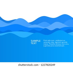Freshness natural theme, a Fresh Water background of blue. Elements design wave. Abstract wavy Vector illustration eps10