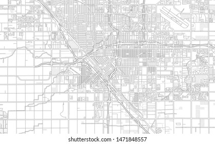 Fresno, California, USA, bright outlined vector map with bigger and minor roads and steets created for infographic backgrounds.