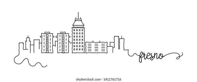 Fresno City Skyline Doodle Sign