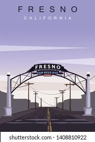 Fresno modern vector poster. Fresno,  California landscape illustration. Top 30 most populated cities of the USA.