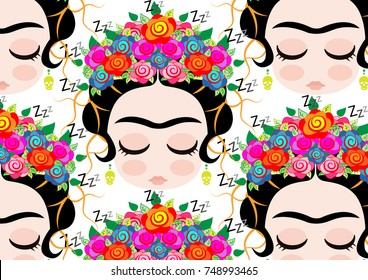 Frida Kahlo cartoon vector portrait, transparent background