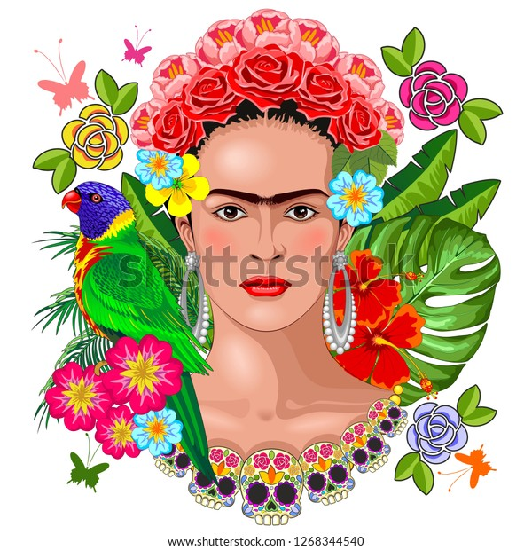 Frida Kahlo Floral Exotic Portrait on White Vector Illustration