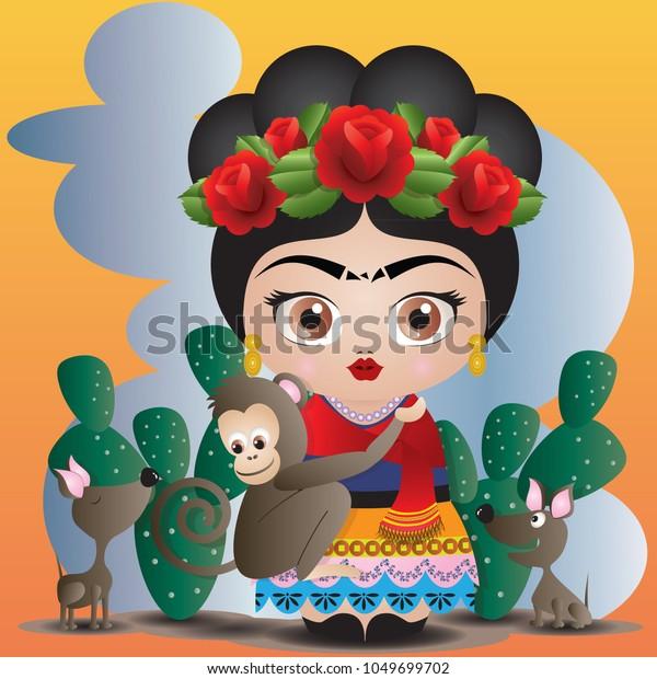 Vector De Stock Libre De Regalías Sobre Frida Kahlo Her Pets