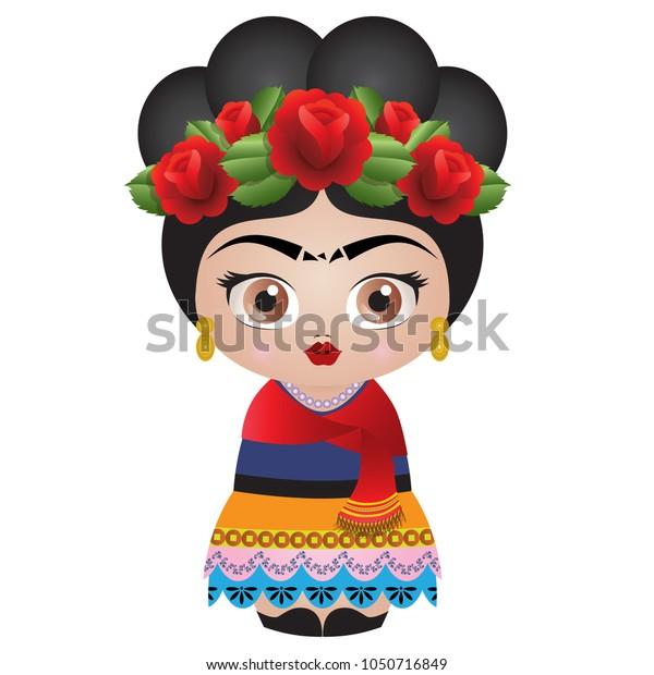 Frida Kahlo Kokeshi Doll Illustration Vector Stock Vector Royalty