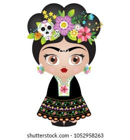 Frida Kahlo Kokeshi doll - Vector Illustration - Catrina version