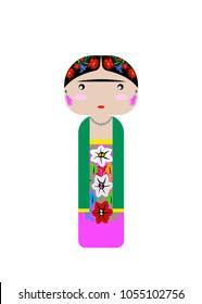 Frida Kahlo Kokeshi Doll , vector illustration isolated
