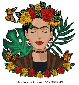 Frida Kahlo mexican style vector portrait. Editorial License