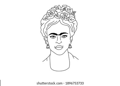 Frida Kahlo, Mexican woman with hairstyle vector concept. Vector isolated on white background