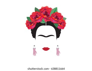 Frida Kahlo minimalist portrait with earrings hands