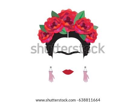 Frida Kahlo Minimalist Portrait Earrings Hands Stock Vector Royalty