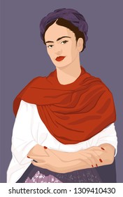 Frida Kahlo portrait illustration Mexico