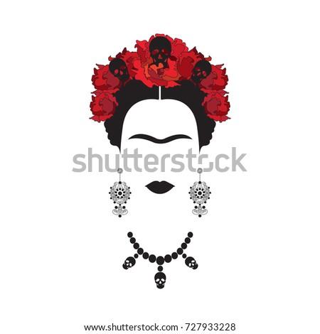 Frida Kahlo Portrait Mexican Spanish Woman Stock Vector Royalty