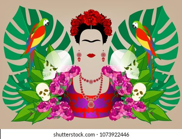 Frida Kahlo portrait with parrots and skulls. Dia de los muertos. Day of The Dead. Vector portrait and green floral isolated or beige background