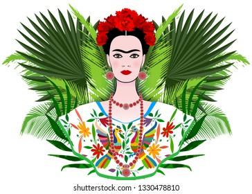 Frida Kahlo vector portrait, beautiful mexican woman with a traditional hairstyle, Mexican crafts jewelry and dress. Frida Ethnic Mexican dress with colorful flowers embroidery. Floral background