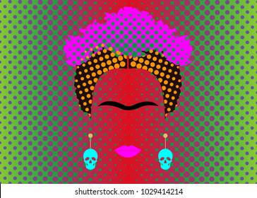 Frida Kahlo vector portrait with earrings skulls, Warhol Pop Art Style