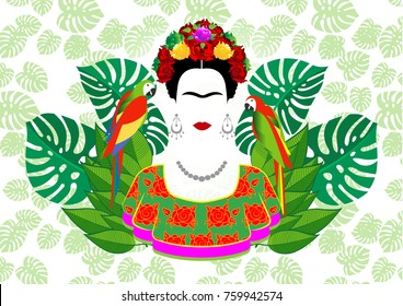 Frida Kahlo vector portrait, graphic interpretation with parrots and  exotic floral in the green background