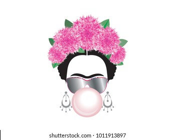 Frida Kahlo vector portrait with gum bubble and sun glasses, isolated