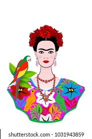 Frida Kahlo vector portrait with parrot, isolated or white background