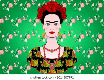 Frida Kahlo vector portrait. Young beautiful mexican woman with a traditional hairstyle. Mexican crafts jewelry and dress. Vector isolated on green floral background