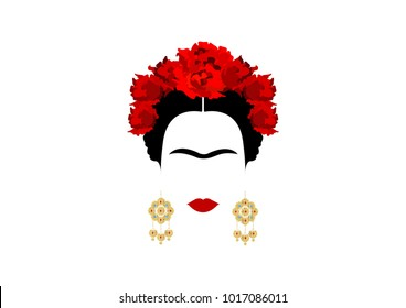 Frida Kahlo vector portrait , young beautiful mexican woman with a traditional hairstyle,  Mexican crafts jewelry earrings, vector isolated