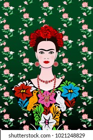 Frida Kahlo vector portrait, young beautiful mexican woman with a traditional hairstyle,  Mexican crafts jewelry and dress, vector isolated or floral background