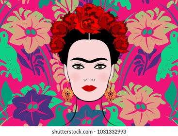 Frida Kahlo vector portrait, young beautiful mexican woman with a traditional hairstyle, isolated or