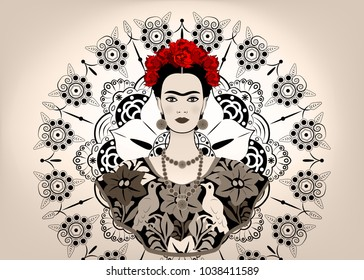 Frida Kahlo vector  portrait. Young beautiful mexican woman with a traditional hairstyle,  Mexican crafts jewelry and dress, vector isolated or decorated mandala background , monochrome style