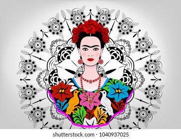 Frida Kahlo vector  portrait. Young beautiful mexican woman with a traditional hairstyle,  Mexican crafts jewelry and dress, vector isolated or decorated mandala background