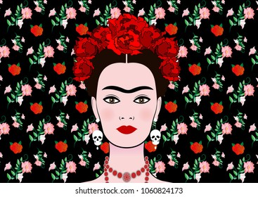 Frida Kahlo vector portrait , young beautiful mexican woman with a traditional hairstyle,  Mexican crafts jewelry and earrings skulls, vector isolated or floral background