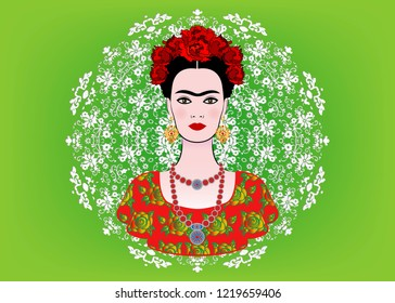 Frida Kahlo vector portrait , young beautiful mexican woman with a traditional hairstyle,  Mexican crafts jewelry earrings and necklace, floral mandala background, vector isolated or green color