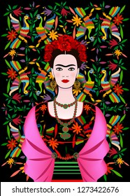 Frida Kahlo vector portrait , young beautiful mexican woman with a traditional hairstyle, Mexican crafts jewelry and dress. Frida Ethnic Mexican tapestry with embroidery floral and peacock background