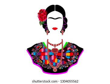 Frida Kahlo vector portrait , young beautiful mexican woman with a traditional hairstyle, Mexican crafts jewelry and dress. Frida Ethnic Mexican dress with embroidery floral and geometric. Isolated
