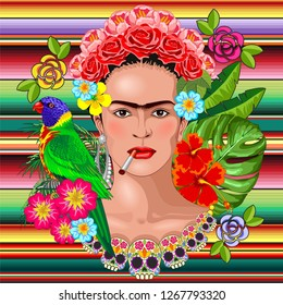 Frida Kaklo Floral Exotic Portrait Vector Illustration