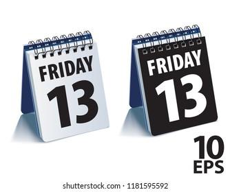 Friday 13 calendar. Realistic vector 3d illustration