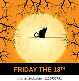 Friday 13 card with black cat sitting on string. Full moon in background. Vector illustration.