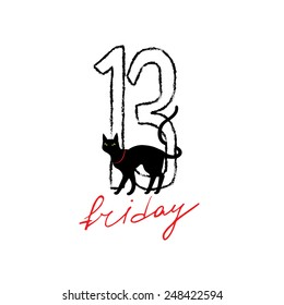 Friday 13 grunge illustration with numerals and black cat. Vector superstition mystic symbol.